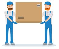 Isolated parcel movers delivering on white background. The warehouse workers. Cartoon character person. Set of various poses and emotions. Vector flat-style royalty free illustration