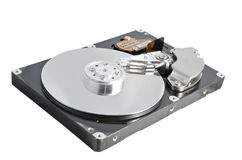 Isolated parsed hard disk drive. On a white background Royalty Free Stock Image