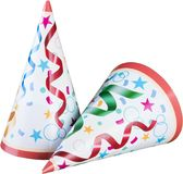 Party hats isolated on white stock images
