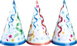 Party hats isolated on white. Isolated party hats a set form fun image red royalty free stock photography