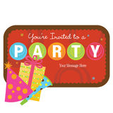 Isolated party items with sign Royalty Free Stock Images