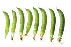 Isolated pea pods on white background Stock Photos