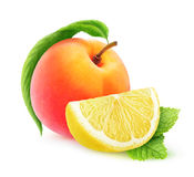 Isolated peach and lemon Royalty Free Stock Images