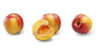 Isolated peaches set Stock Photo