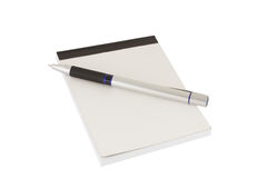Isolated pen and clear notebook Stock Photography