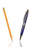 Isolated pencil and pen Royalty Free Stock Image