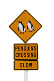 Isolated penguin crossing sign Royalty Free Stock Image