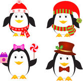 Isolated Penguin Illustrations. Isolated black and white penguins with red hat, brown hat, red scarf, lollipop, present, mistletoe illustrations, snowflakes, tie Royalty Free Stock Photo