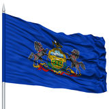 Isolated Pennsylvania Flag on Flagpole, USA state Stock Photo