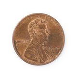 Isolated Penny. Macro shot of a copper penny isolated on white stock photo