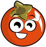 Isolated persimmon fruit in a cartoon version Stock Photography