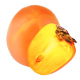 Isolated persimmon. One and a half persimmon fruit over white ba. Delicious persimmons isolated on white background as package design element stock photos