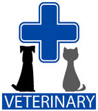 Isolated pet and blue veterinary cross Stock Photos