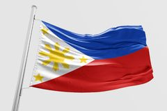 Isolated Philippine Flag waving 3d Realistic fabric. Floating Philippines flag stock photos