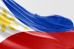 Isolated Philippine Flag waving 3d Realistic fabric. Floating Philippines flag royalty free stock photos