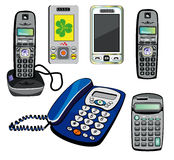Isolated phones and calculator Royalty Free Stock Photos