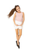 Isolated photo of cute brunette girl dancing ballet Stock Photo