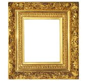 Isolated Photo Frame, Golden Antique Photo Frame. Painting Frame stock photo