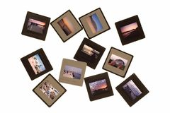 Isolated photo slides. Landscapes and color photo slides in an isolated background Royalty Free Stock Photos