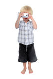 Isolated photo of young boy taking a photograph Royalty Free Stock Photos