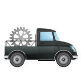 Isolated pick up car as transporter for machinery industry vector drawing Royalty Free Stock Photo