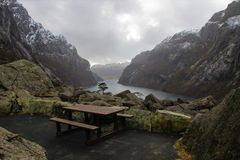 Isolated Picnic Table at the Gloppedalsura Landslide Royalty Free Stock Images