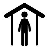 Isolated pictogram and house design. Pictogram and house icon. People person figure and human theme. Isolated design. Vector illustration Royalty Free Stock Image