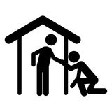 Isolated pictogram and house design. Pictogram and house icon. People person figure and human theme. Isolated design. Vector illustration Stock Images