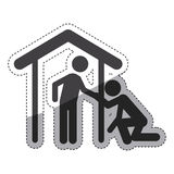 Isolated pictogram and house design. Pictogram and house icon. People person figure and human theme. Isolated design. Vector illustration Royalty Free Stock Images