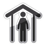 Isolated pictogram and house design. Pictogram and house icon. People person figure and human theme. Isolated design. Vector illustration Stock Photos