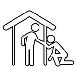 Isolated pictogram and house design. Pictogram and house icon. People person figure and human theme. Isolated design. Vector illustration Stock Image