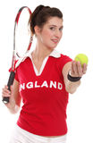 Isolated picture from a woman with tennis racket Stock Photos