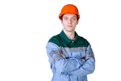 Isolated picture of a young worker Royalty Free Stock Image