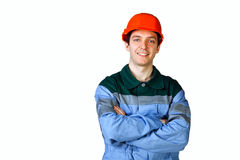 Isolated picture of a young worker Stock Image