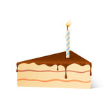 Isolated pie of birthday sponge cake with dark chocolate and candle light with shadow on white background. Royalty Free Stock Image