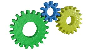 Isolated 3 piece of gears stock illustration