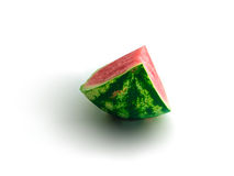 Isolated piece of watermelon with most pulp visible. On white background, healthy eating, sweet summer refreshment Stock Photo