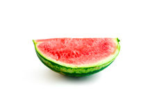 Isolated piece of watermelon without seeds, quarter sideview. Isolated piece of watermelon without seeds on white background, quarter sideview, healthy eating Royalty Free Stock Photography