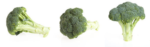 Isolated pieces of brocoli. On white background stock photos