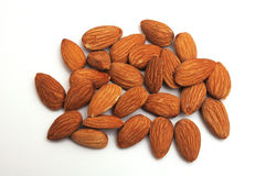 Isolated pile of almonds Royalty Free Stock Photo