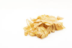 Isolated pile of banana chips,snack Royalty Free Stock Photography
