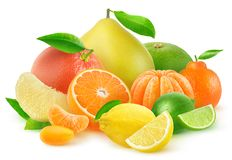 Isolated pile of citrus fruits stock photography