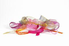Isolated Pile of Colorful Ribbons on White Royalty Free Stock Photography