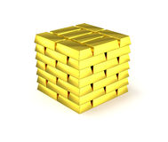 Isolated pile of gold bars Royalty Free Stock Photos