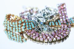 Free Isolated Pile Of Antique Gold And Silver Jewelry On A White Back Stock Photography - 103821742