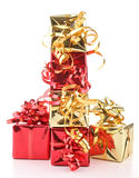 Isolated pile of presents Royalty Free Stock Photos