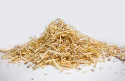 Isolated pile of sawdust. Pile of sawdust on a white background Stock Images