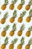 Isolated pineapples pattern or wallpaper on white background. Summer concept of fresh ripe whole pineapples shot from above stock photos