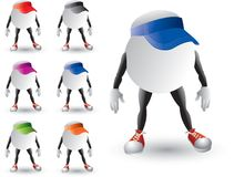 Isolated ping pong ball characters with visors Royalty Free Stock Photos