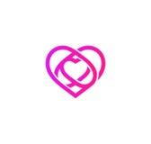 Isolated pink abstract monoline heart logo. Love logotypes.  Royalty Free Stock Photos
